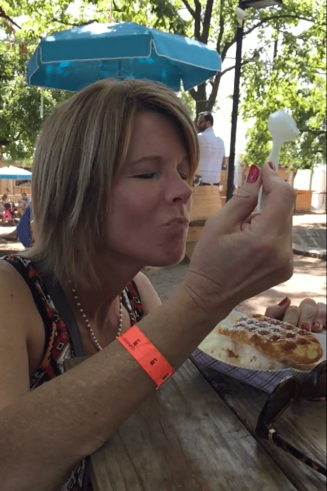 Crushing waffle sandwich with honeycomb ice cream at Spruce Street Harbor Park in Philadelphia.