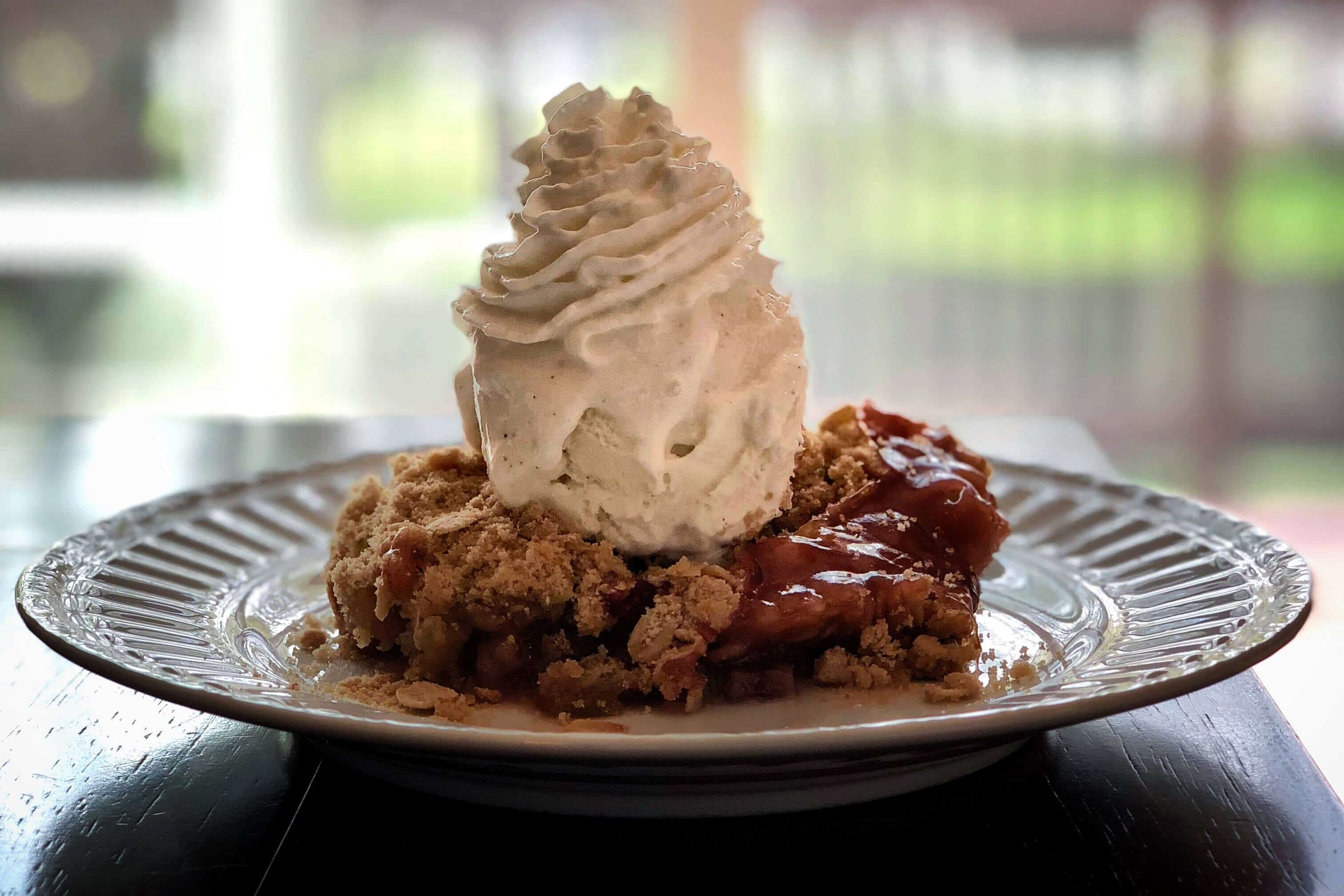 Rhubarb Crunch with Whipped and Ice Cream
