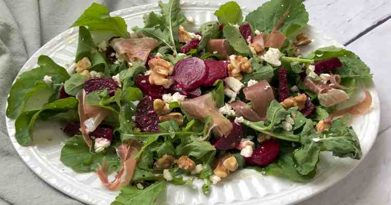 Beet Salad with Feta, Walnuts, and Prosciutto