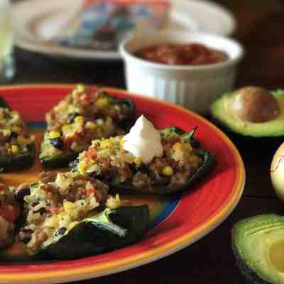 Stuffed Poblano Peppers with Ground Pork