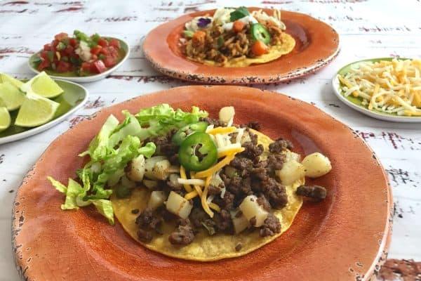 Beef and Potato Tostada
