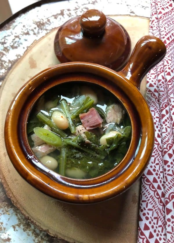 Bowl of Ham Beans and Greens Soup