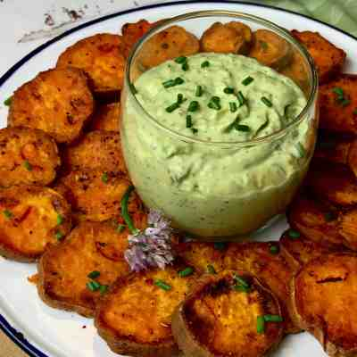 Verde Goddess Dip with Sweet Potato Chips