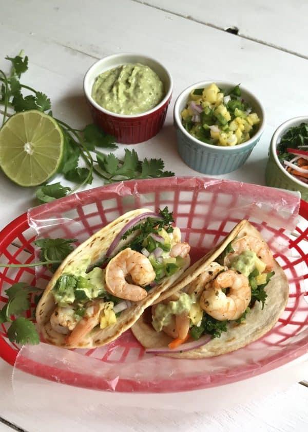 Shrimp Tacos with Verde Goddess Dressing