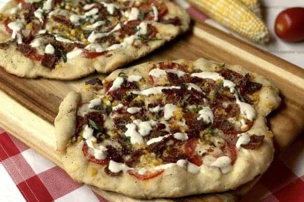 Sweet corn, bacon, tomato and basil Pizza