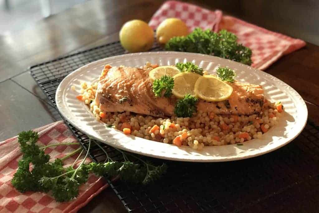 Lemon-Yogurt Salmon with Vegetable Couscous
