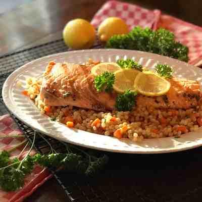 Lemon-Yogurt Salmon with Vegetable Couscous