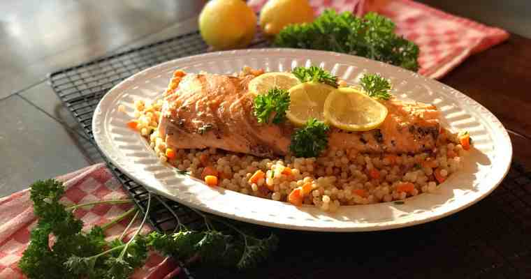 Lemon-Yogurt Salmon with Veggie Couscous
