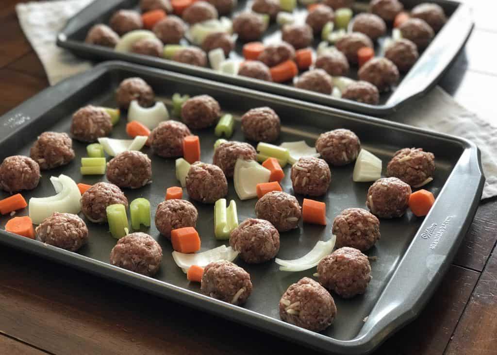 Reuben Meatballs Prep