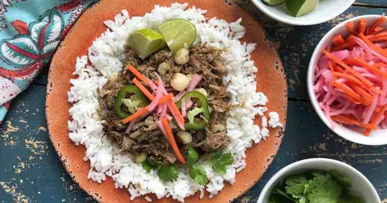 Leftover Pork Pozole Rice Bowl