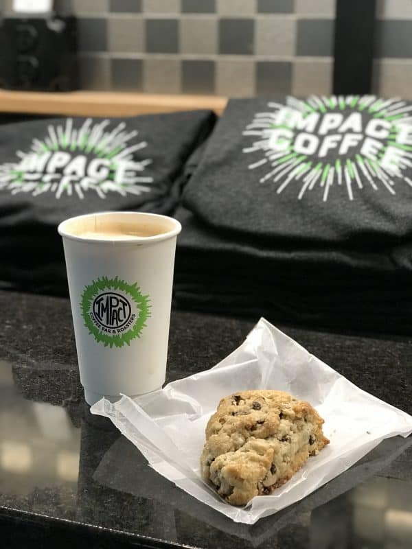 Scones and coffee from Impact Coffee in Decorah Iowa
