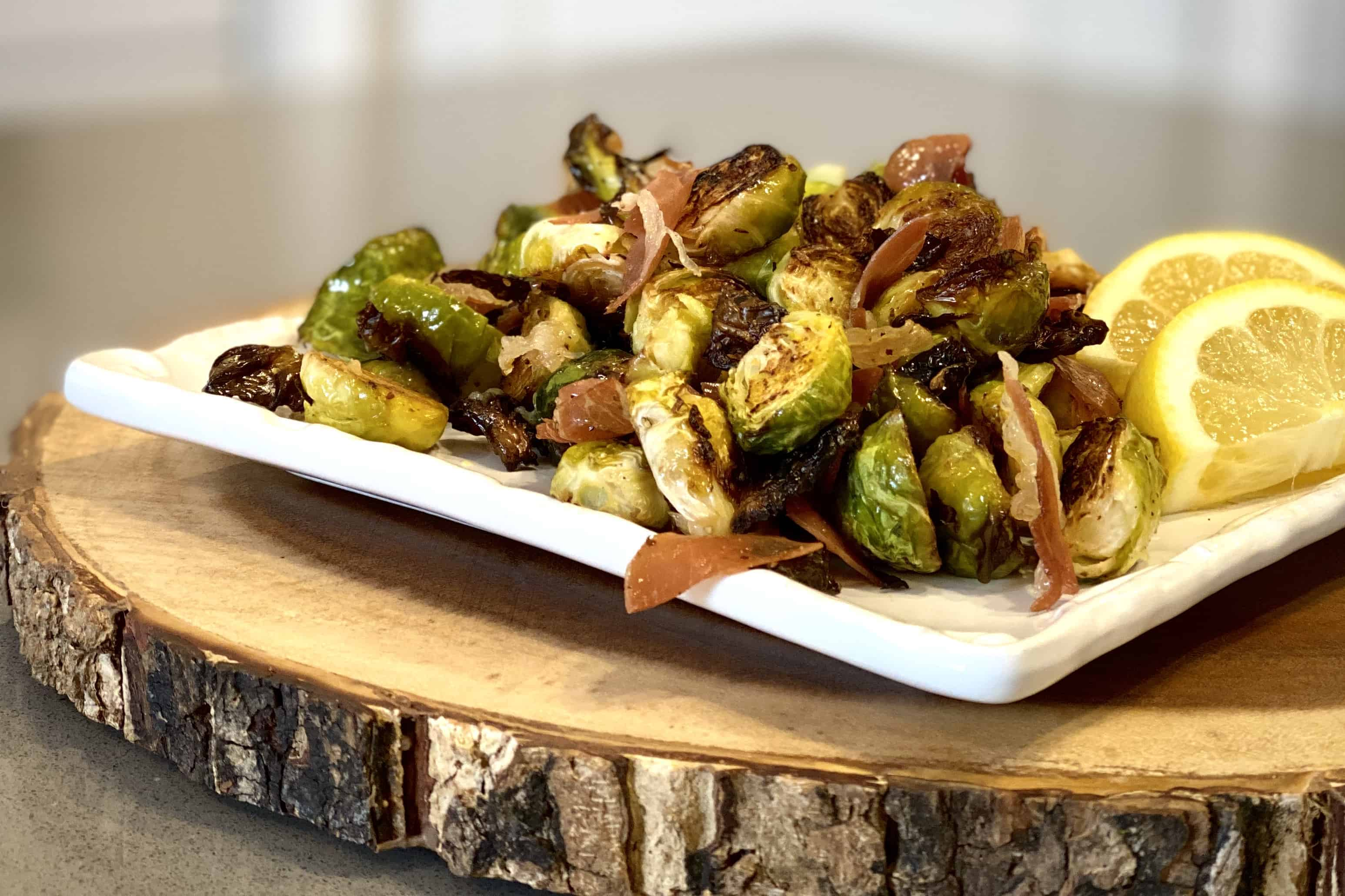 Roasted Brussels Sprouts with Lemon and Prosciutto