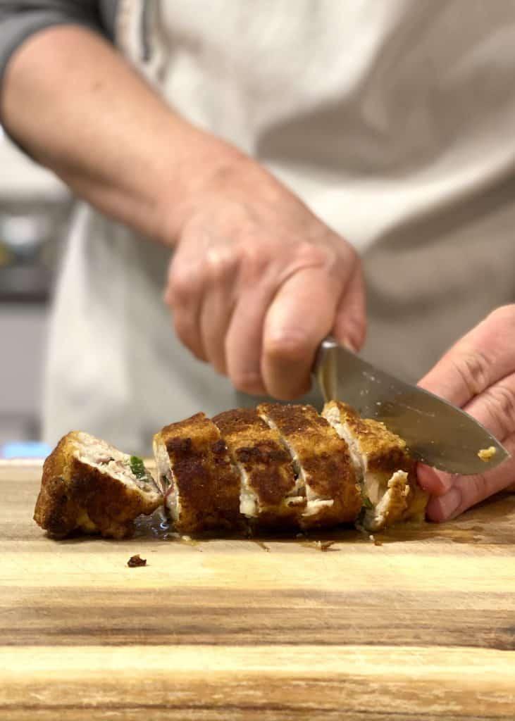 Slicing Chicken Roulade