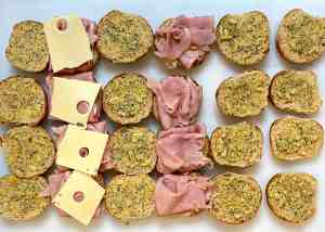Baked Ham and Cheese Sandwich Assembly