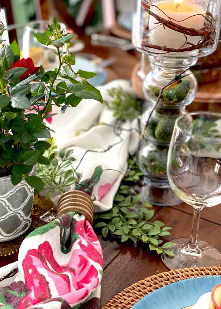 Vintage Tablecloth Centerpiece