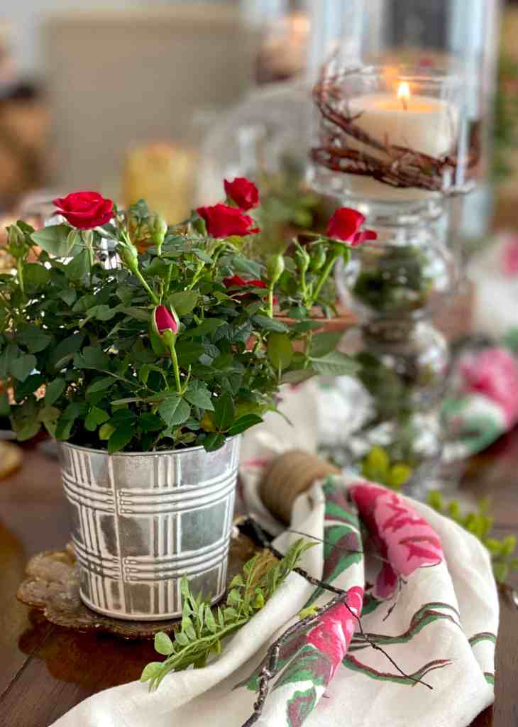 Mini Roses for Spring Tablescape